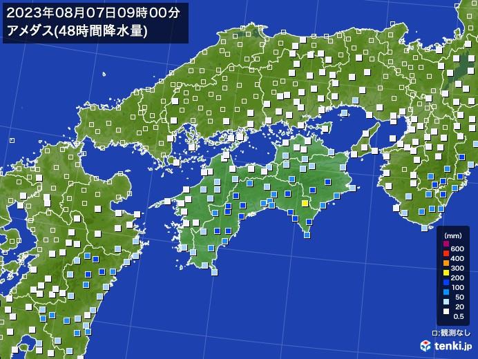 四国地方のアメダス合計降水量(48時間)