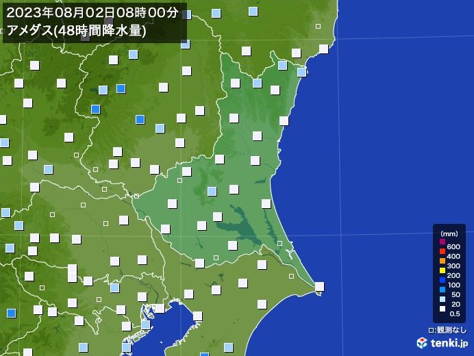 茨城県のアメダス合計降水量(48時間)