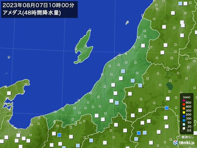 新潟県のアメダス合計降水量(48時間)