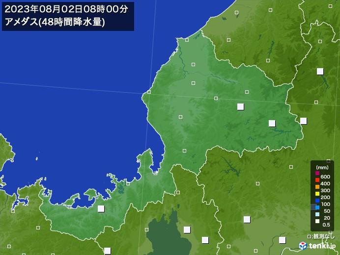 福井県のアメダス合計降水量(48時間)