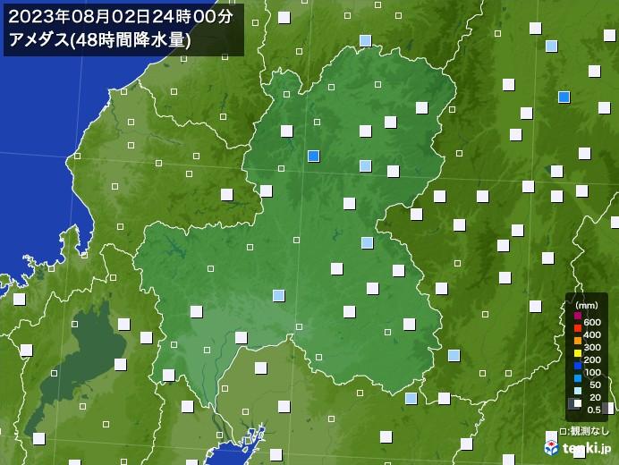 岐阜県のアメダス合計降水量(48時間)