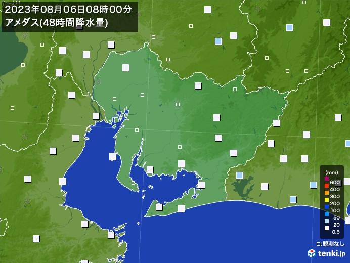 愛知県のアメダス合計降水量(48時間)