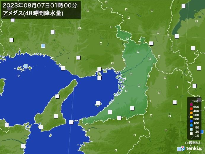 大阪府のアメダス合計降水量(48時間)