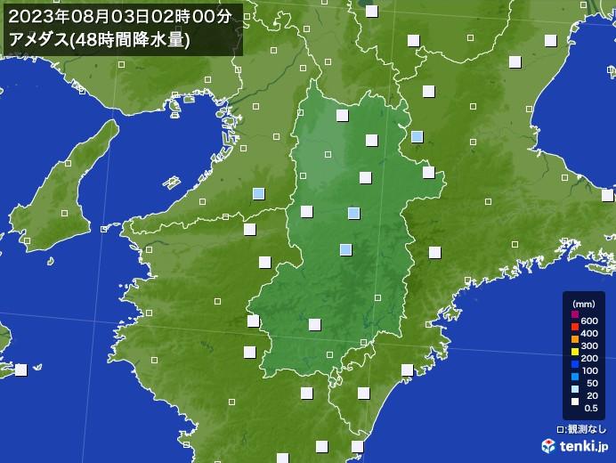奈良県のアメダス合計降水量(48時間)