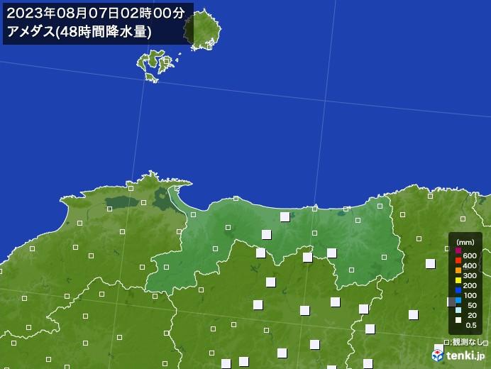 鳥取県のアメダス合計降水量(48時間)