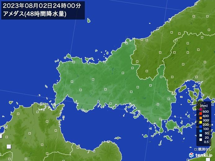 山口県のアメダス合計降水量(48時間)