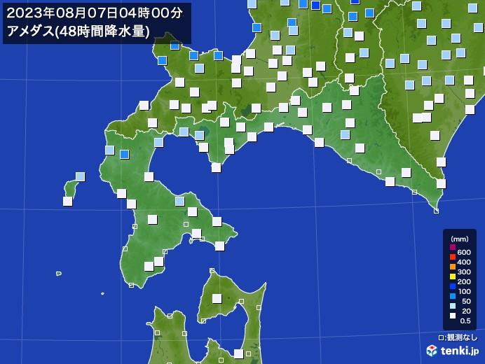 道南のアメダス合計降水量(48時間)