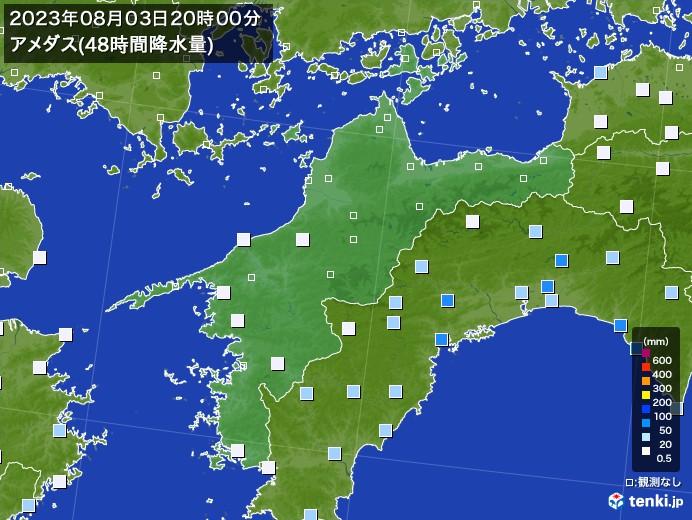 愛媛県のアメダス合計降水量(48時間)
