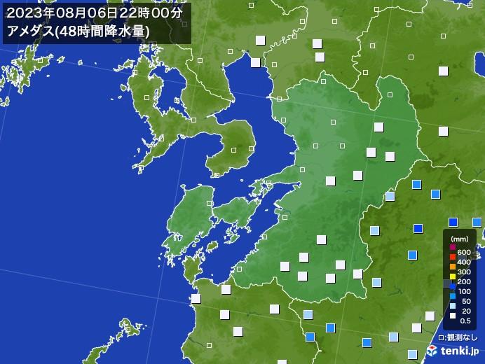 熊本県のアメダス合計降水量(48時間)