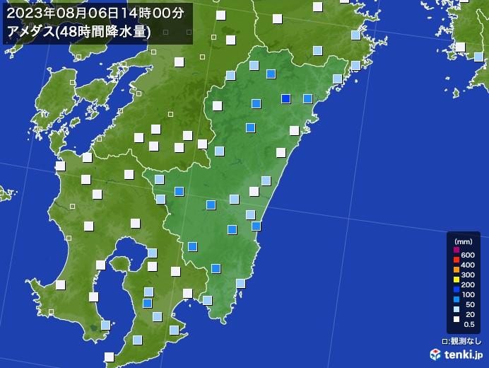 宮崎県のアメダス合計降水量(48時間)
