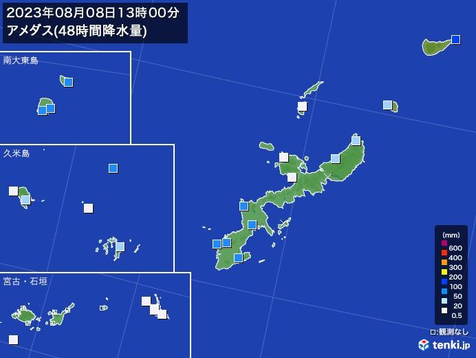 沖縄県のアメダス合計降水量(48時間)