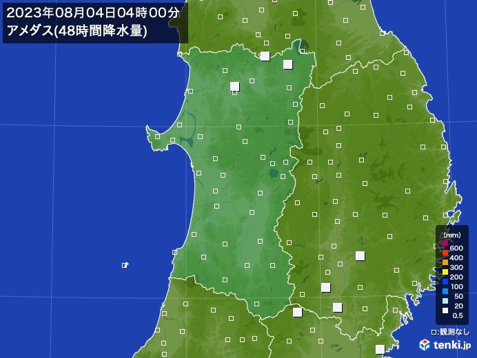 秋田県のアメダス合計降水量(48時間)