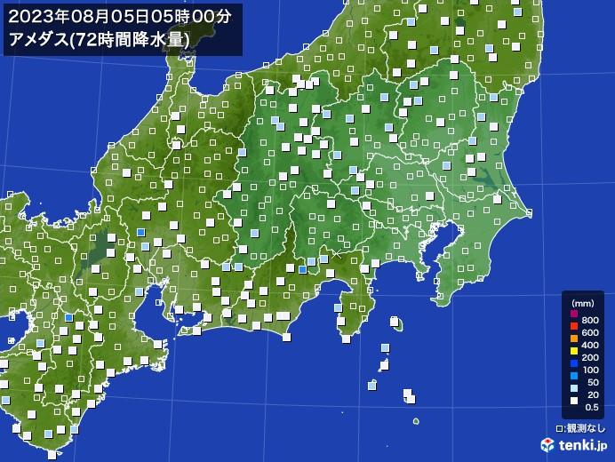 関東・甲信地方のアメダス合計降水量(72時間)