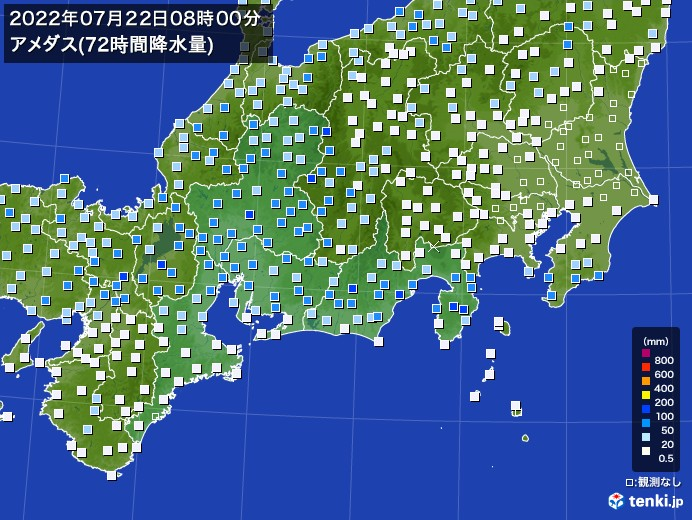 東海地方のアメダス合計降水量(72時間)