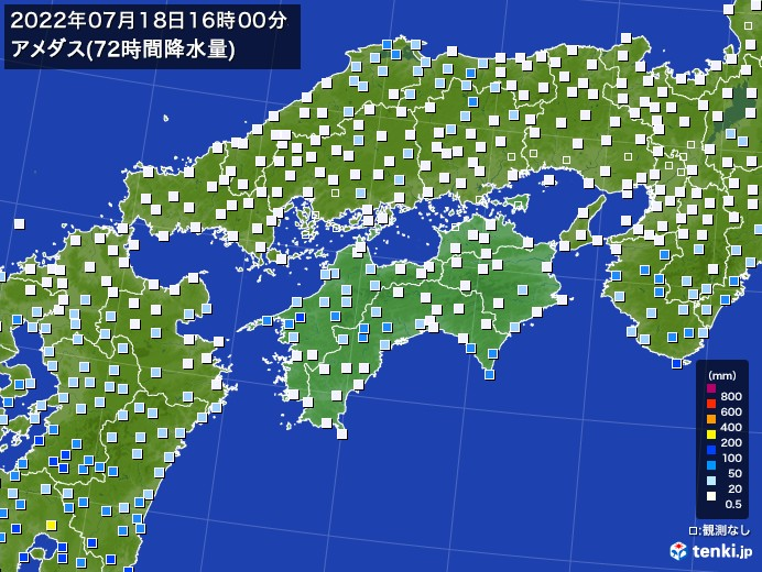 四国地方のアメダス合計降水量(72時間)