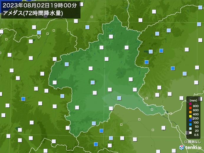 群馬県のアメダス合計降水量(72時間)