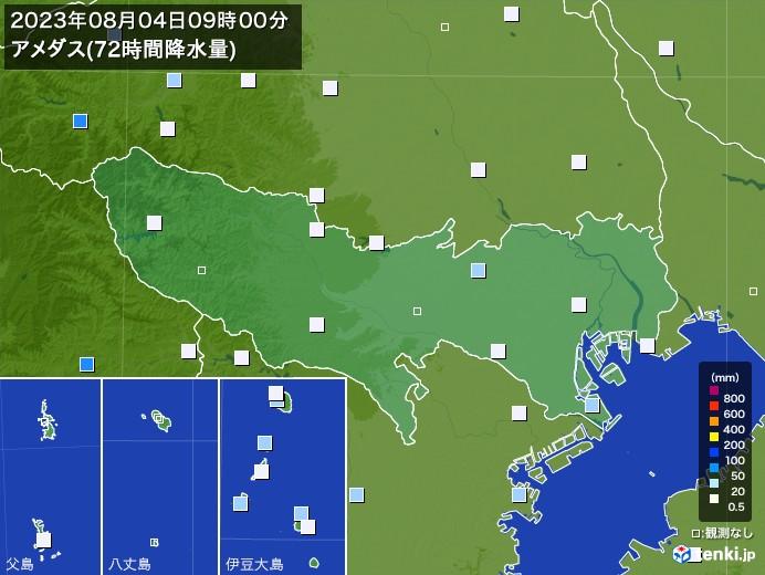 東京都のアメダス合計降水量(72時間)