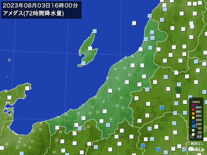 新潟県のアメダス合計降水量(72時間)