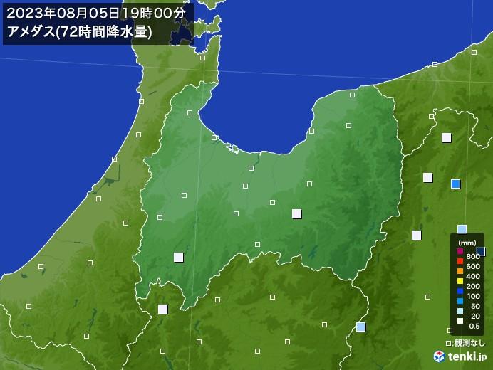 富山県のアメダス合計降水量(72時間)