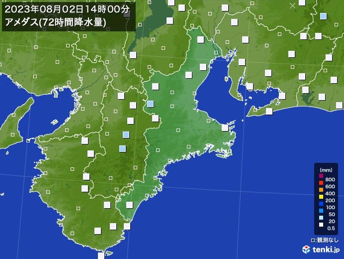 三重県のアメダス合計降水量(72時間)