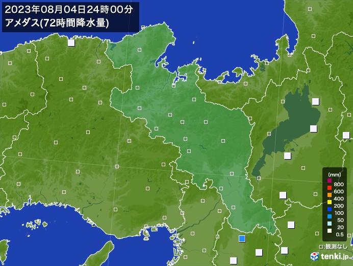 京都府のアメダス合計降水量(72時間)