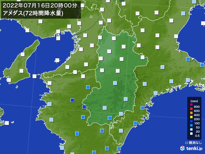 奈良県のアメダス合計降水量(72時間)