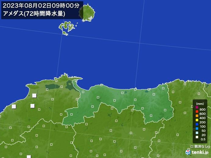 鳥取県のアメダス合計降水量(72時間)