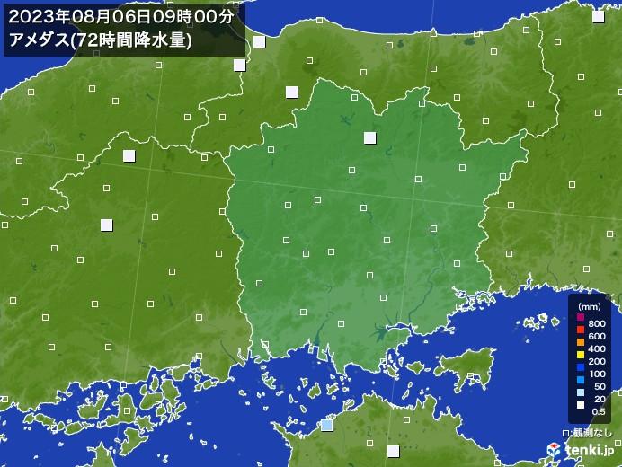 岡山県のアメダス合計降水量(72時間)