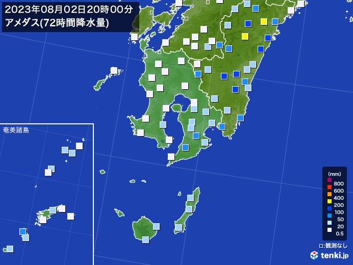 鹿児島県のアメダス合計降水量(72時間)