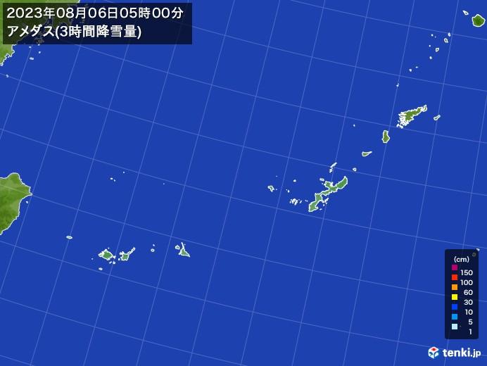 沖縄地方のアメダス合計降雪量(3時間)