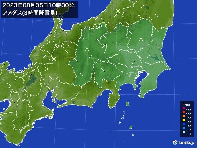 関東・甲信地方のアメダス合計降雪量(3時間)