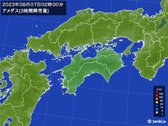 四国地方のアメダス合計降雪量(3時間)