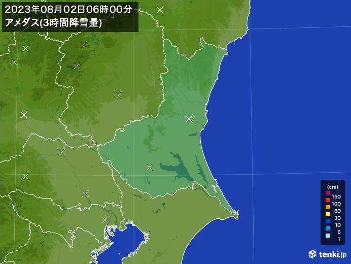 茨城県のアメダス合計降雪量(3時間)