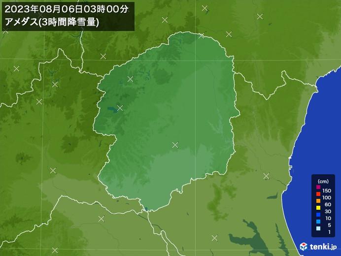 栃木県のアメダス合計降雪量(3時間)