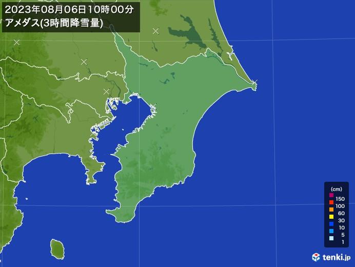 千葉県のアメダス合計降雪量(3時間)