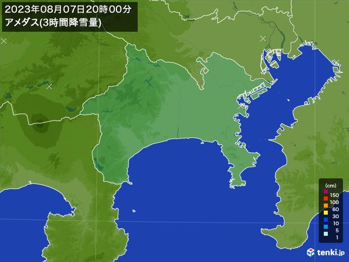 神奈川県のアメダス合計降雪量(3時間)