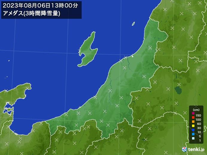 新潟県のアメダス合計降雪量(3時間)