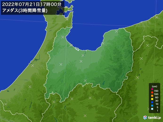富山県のアメダス合計降雪量(3時間)