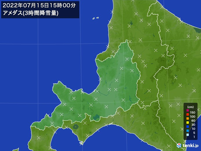 道央のアメダス合計降雪量(3時間)