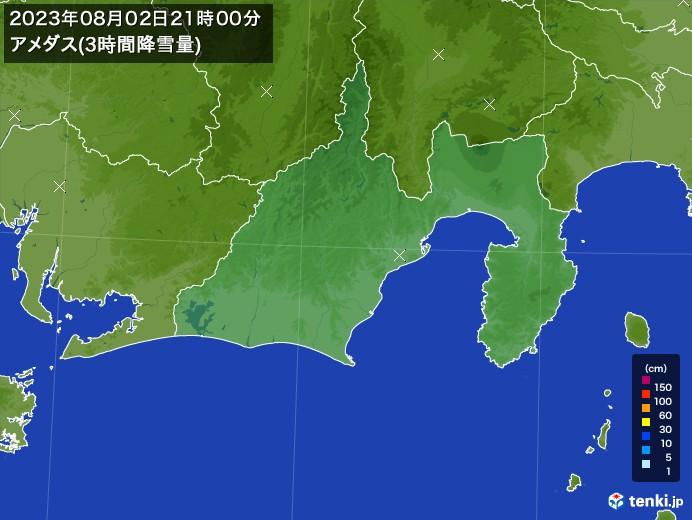 静岡県のアメダス合計降雪量(3時間)
