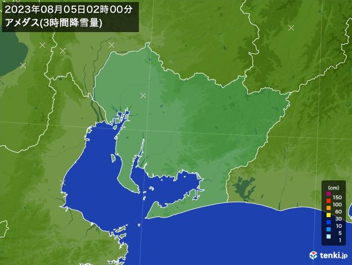 愛知県のアメダス合計降雪量(3時間)