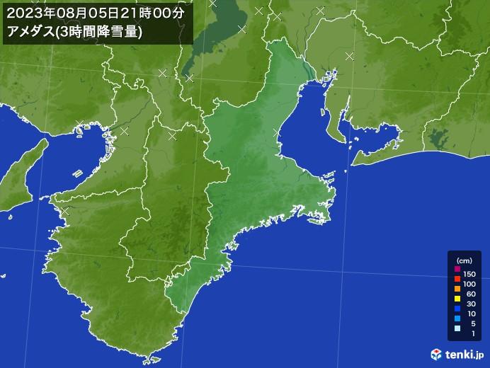 三重県のアメダス合計降雪量(3時間)