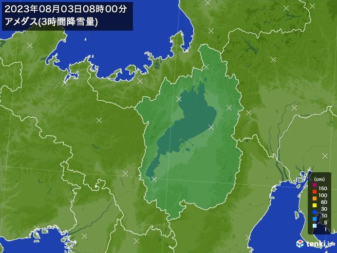 滋賀県のアメダス合計降雪量(3時間)