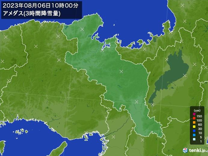京都府のアメダス合計降雪量(3時間)