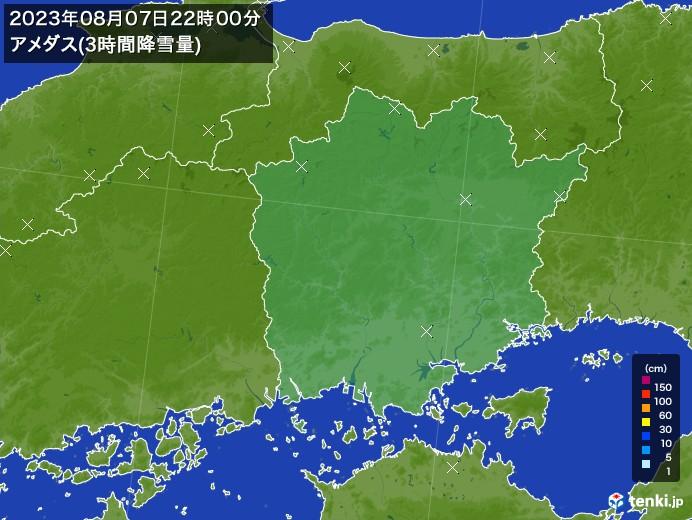 岡山県のアメダス合計降雪量(3時間)