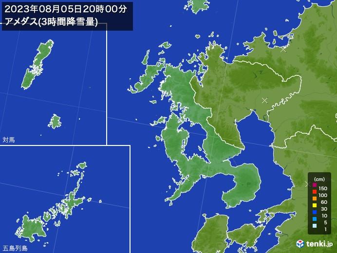 長崎県のアメダス合計降雪量(3時間)