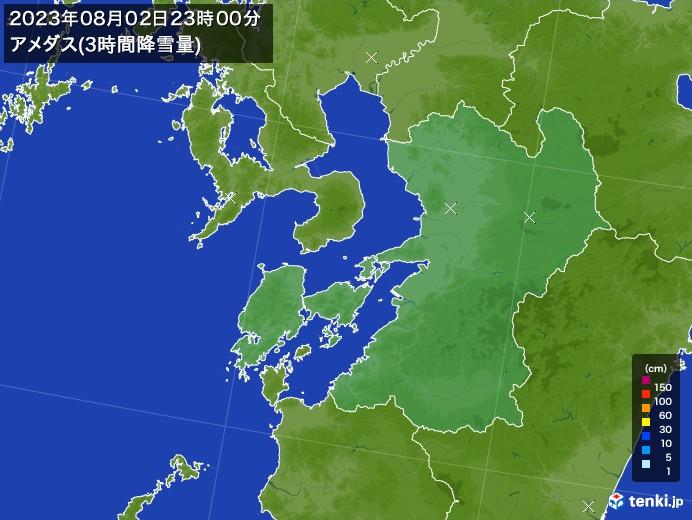 熊本県のアメダス合計降雪量(3時間)