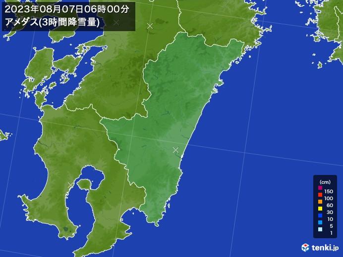 宮崎県のアメダス合計降雪量(3時間)