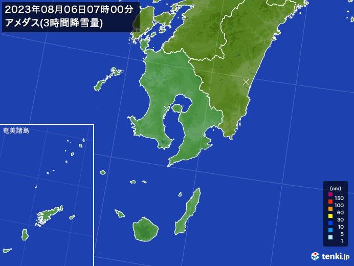 鹿児島県のアメダス合計降雪量(3時間)