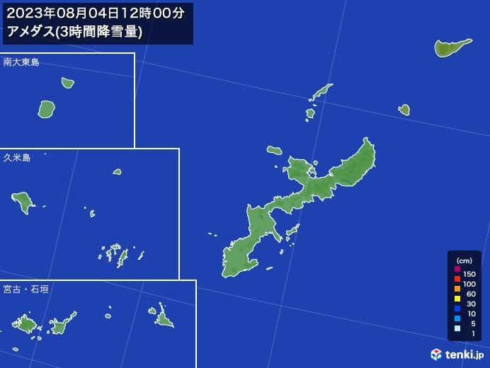 沖縄県のアメダス合計降雪量(3時間)